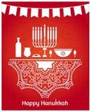 hanukkah Feestelijke Lijst Kandelaar Gelukkig de kaartontwerp van de Chanoekagroet vector illustratie