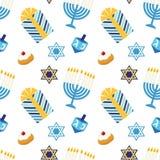 Hanukkah feliz do teste padrão sem emenda festivo bonito em cores tradicionais ilustração do vetor