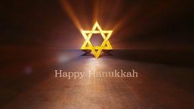 Hanukkah feliz letras escritas mano de la animación 3d con letras de oro, menor