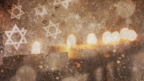 Hanukkah feliz Nieve de Menorah imagenes de archivo