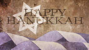 Hanukkah. Flag Waves and Star of David. On Concrete Royalty Free Stock Photos