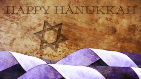 Hanukkah. Flag Waves and Star of David. On Wood Stock Photography