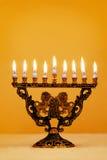 Hanukkah fleuri Menorah Images libres de droits