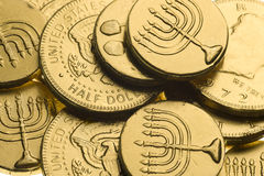 Hanukkah gelt background Stock Images
