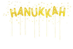 Hanukkah. Gold foil style balloons and stars. Royalty Free Stock Image