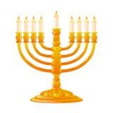 Hanukkah golden menorah with burning candles. For Happy Hanukkah, jewish holiday. Golden menorah with burning candles on white background. Vector illustration Royalty Free Stock Image