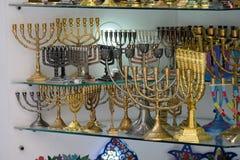 Souvenir menorahs in Old City of Jerusalem. Royalty Free Stock Image