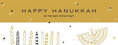 Hanukkah greeting banner , Jewish holiday symbols. golden hanukkah menora and candles Stock Photo