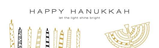 Hanukkah greeting banner , Jewish holiday symbols. golden hanukkah menora and candles Royalty Free Stock Photos