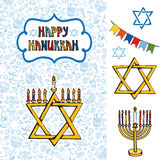 Hanukkah greeting card.Doodle Jewish Holiday Stock Image
