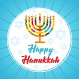 Hanukkah greeting card menorah candles colored Royalty Free Stock Photography