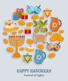 Hanukkah greeting card with Torah, menorah and dreidels. Place for your Text. Vector illustration Stock Photo