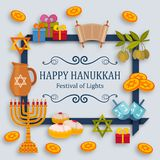 Hanukkah greeting card with Torah, menorah and dreidels. Place for your Text. Vector illustration Royalty Free Stock Photos