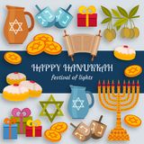 Hanukkah greeting card with Torah, menorah and dreidels. Place for your Text. Vector illustration Stock Image