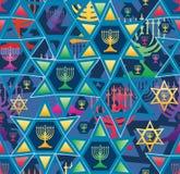 Hanukkah gwiazdy linii jaskrawej symetrii bezszwowy wzór ilustracja wektor