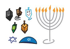 Set of color Hanukkah Jewish holiday Hand drawn symbols. On white background stock illustration