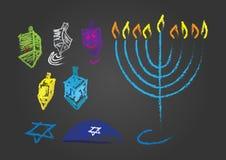 Set of color Hanukkah Jewish holiday Hand drawn symbols vector illustration