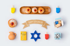 Hanukkah holiday food and objects for mock up template design.View from above. stock image