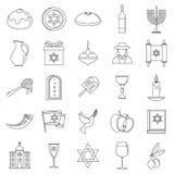 Hanukkah holiday icon set, outline style royalty free illustration