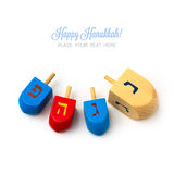 Hanukkah holidays wooden dreidel spinning top isolated on white background stock images