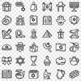 Hanukkah icon set, outline style stock illustration