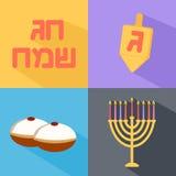 Hanukkah icons set. Flat style with long shadow. Jewish Holiday Hanukkah symbol set. Vector illustration Stock Images