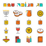 Hanukkah icons set Stock Photos