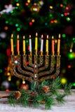 Hanukkah, the Jewish Festival of Lights defocused bokeh, bokeh light,. Hanukkah, the Jewish Festival of Lights Hanukkah Menorah defocused bokeh, bokeh light Stock Image