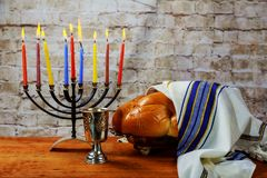 Hanukkah, the Jewish Festival of Lights. Jewish holiday hannukah challah bread Stock Image