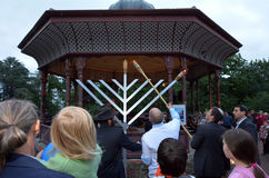 Hanukkah - Jewish Holiday. AUCKLAND, NZL - DEC 16 2014:The Jewish community celebrates the festival of Hanukkah. It's an eight-day festival commemorating the