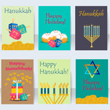 Hanukkah jewish holiday cards traditional religious set vector. Royalty Free Stock Photography