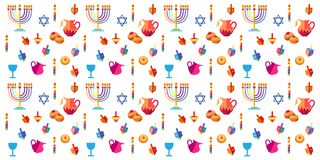 Hanukkah. Jewish holiday Hanukkah seamless pattern. Hanuka background with traditional Chanukah symbols - wooden dreidels spinning top, donuts, menorah, candles Royalty Free Stock Images
