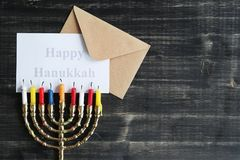 Hanukkah. Jewish holiday Hanukkah and its famous nine-branched menorah royalty free stock images