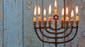 Hanukkah jewish holiday with menorah candelabra