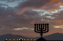 Hanukkah Jewish holiday symbols Stock Image