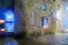 Hanukkah in the Jewish quarter, Jerusalem. JERUSALEM, ISRAEL - DECEMBER 29, 2016: Alley with a display of Traditional Menorahs Hanukkah Lamps with olive oil