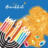 Hanukkah juish vector illustration. jewish menorah simple vector icon. hanuka candles symbol. Stock Photography