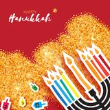 Hanukkah juish vector illustration. jewish menorah simple vector icon. hanuka candles symbol. Colorful Origami Happy Hanukkah Greeting card on gold glitter Stock Image