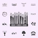 hanukkah kaarsenpictogram Voor Web wordt geplaatst dat en het mobiele algemene begrip van Chanoekapictogrammen stock illustratie