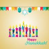 Hanukkah karta z świeczkami Fotografia Royalty Free