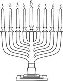 Hanukkah Lamp Hanukkiah Coloring Page Royalty Free Stock Photo