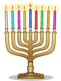 Hanukkah Lamp Hanukkiah. Vector illustration of Hanukkiah with candles for the Jewish holiday Hanukkah royalty free illustration
