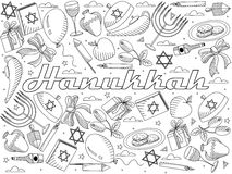 Hanukkah line art design vector illustration Royalty Free Stock Images