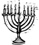 Hanukkah Menorah. A Hanukkah Menorah for the holidays in a woodcut style stock illustration