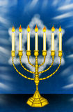 Hanukkah Menorah. With Star of David on background Stock Photography