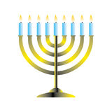 Hanukkah menorah. With lit candles vector illustration