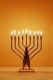 Hanukkah Menorah. Menorah lit for the eighth night of Hanukkah royalty free stock photos
