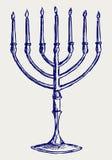 Hanukkah menorah. Doodle style. Vector stock illustration