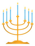Hanukkah menorah. With blue candles isolated on white. vector illustration