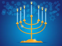 Hanukkah menorah. With blue candles on blue background. vector illustration vector illustration